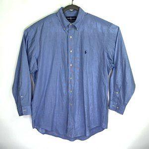 Men Light Blue Ralph Lauren Dress Shirt Size Large